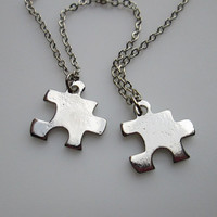 Small Puzzle Piece Necklaces. His and Hers Couple Necklaces in Silver Finish.