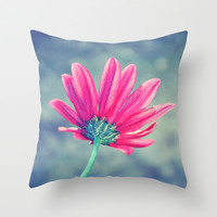 Turn Away - Emerald And Raspberry Daisy Macro Throw Pillow by Tangerine-Tane