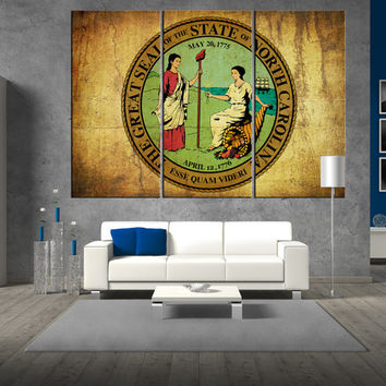 Seal of North Carolina canvas Print wall art, North Carolina seal flag, large seal wall art print giclee extra large wall art canvas t335