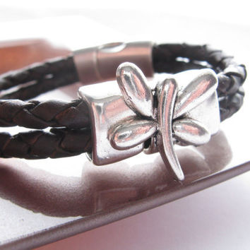 Braided Thick Leather Cuff/Bracelet - Silver Metal and Brown Leather Bracelet - Butterfly