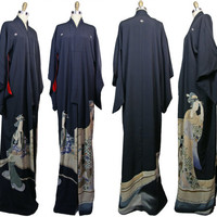 1930s to 1940s Black Kinsha Silk Susohiki Kimono with Elegant Women in the Design