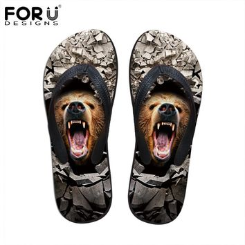 FORUDESIGNS Men's Sandals 2017 Summer Beach Flip Flops Cool 3D Animal Leopard Tiger Print Slippers Men Casual Leisure Flip Flops