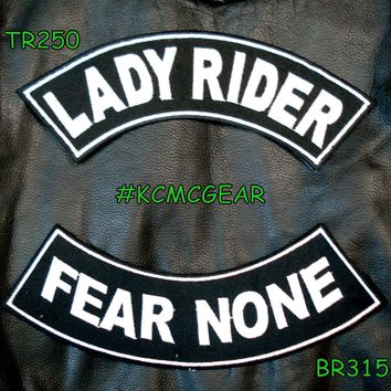 Lady Rider Fear None Embroidered Patches Sew on Patches Motorcycle Biker Patch Set for Jackets
