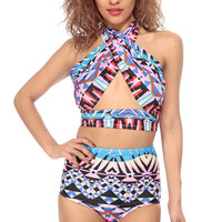 Tribal Print High Waist Two Piece Bikini