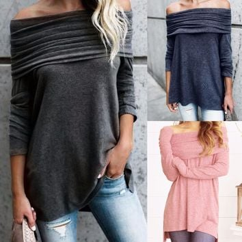 Loose Off Shoulder Pure Color Long Sleeves Irregular T-shirt
