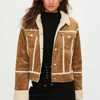 Missguided - Brown Bonded Contrast Borg Trucker Jacket