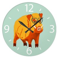 Cute Boar Pig With Heart Shaped Glasses Large Clock