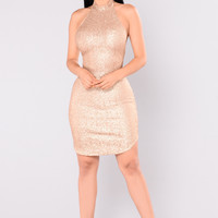Dancing Away Sequin Dress - Champagne