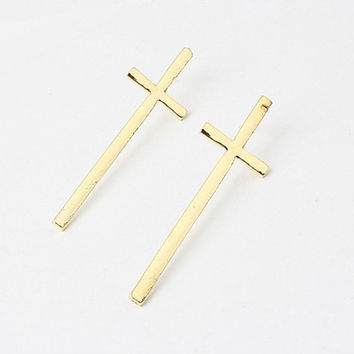 3 Pair/Lot/3 Colors New Arrived! New PUNK Vampire Long Lath Cross Earring Vintage EMO Rock Gothic Gift  E205