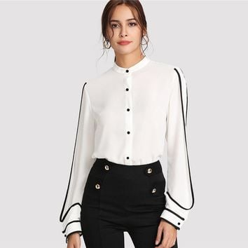 White Elegant Stand Collar Long Sleeve Button Black Striped Blouse Women Workwear Shirt Top