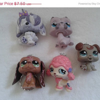 spring sale 5 pc littlest pet shop dogs keychain keyring set - party favor lot