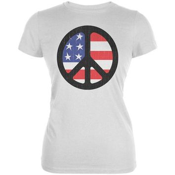 DCCKU3R 4th of July American Flag Peace Sign Distressed Halftone Juniors Soft T Shirt
