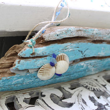 Painted Seascape Driftwood Fine Art , Mixed Media Artwork , Boho Beach Wall Hanging , Seaglass Decoration
