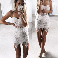 White Sleeveless Lace Wrapped Top with Skirt
