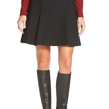 Women's Pink Tartan Herringbone Wool Blend Flounce Skirt,