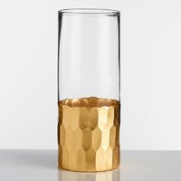 Gold Faceted Highball Glasses Set of 4