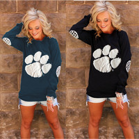 New Fashion Spring Bear Hand Print Soft Comfy Tops [9710109199]