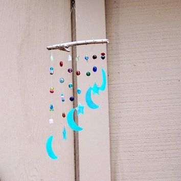 Stained Glass Moons and Stars Wind Chime with FREE by lightmusic