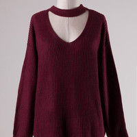 Knit Choker Sweater - Burgundy