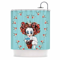 "Zara Martina ""Off With Her Head"" Red Teal Shower Curtain"