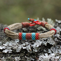 Teal red ethnic bracelet linen string - ecofriendly jewelry - natural material - organic jewelry - original design - ready to ship