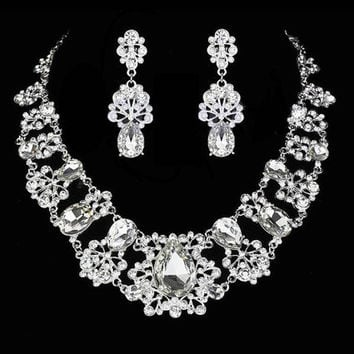 "Formal Crystal Wedding Prom Necklace Plugs Gauges Jewelry SET 0g - 8mm 00g - 9mm 7/16"" - 11mm 1/2"" - 12 mm 9/16"" - 14mm 5/8"" - 16mm"