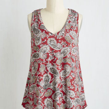 Rustic Mid-length Sleeveless A-line Infinite Options Top in Red Paisley