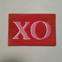 XO Sign, xoxo sign, Wood Painted Sign, Love Sign, Valentine's Day Sign, Valentines Gift, Hugs and Kisses, Be Mine Sign, Valentines Day Decor