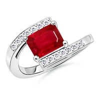 Solitaire Emerald Cut Ruby and Diamond Bypass Ring