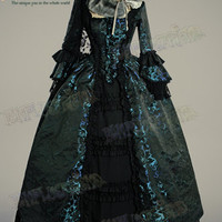 Victorian Rococo Lolita Jacquard Square Neckline Ball Dress*Floor Length, Brocade