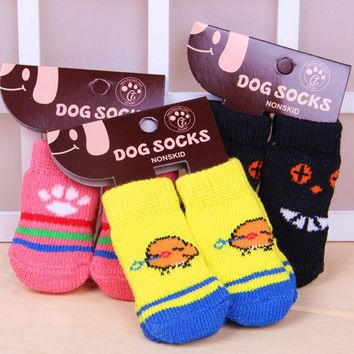 4 PCS/set Small Pet Dog Doggy Shoes Lovely Soft Warm Knitted Socks Clothes Apparels For S-L