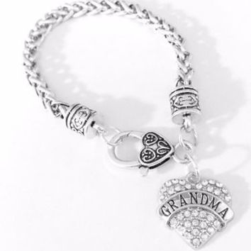 Crystal Grandma Heart Mother's Day Gift For Grandma Grandmother Charm Bracelet