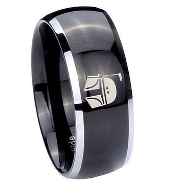 8MM Glossy Black Dome Star Wars Boba Fett Sci Fi Science 2 Tone Tungsten Laser Engraved Ring