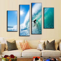 4 Pcs/Set Modern Seascape Canvas Printed Picture Surfing in Hawaii Wall Paintings Home Decor for Living Room Wall Art Poster