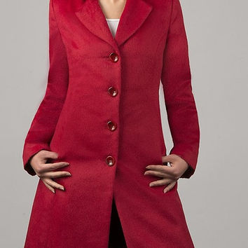 Luxury Coat made of Alpaca and Wool / Women's Clothing / Red Coat / Oversized / Structured / Slimming / Winter Long coat