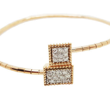 Ready to be Shipped within 3 days Bangle Design Unique bracelet 18K Rose gold 12.30 Grams with Pave set Diamonds
