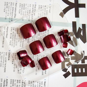 24pcs/Set Summer Cute Toes False Nails Wine Red Black Blue Full Cover Pre-design Girls Foot Nail Art Fake Nails with Glue