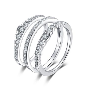 Jewelry Palace 0.7ct Cubic Zirconia 3 Pcs Stackable Wedding Band Anniversary Engagement Ring Bridal Sets 925 Sterling Silver