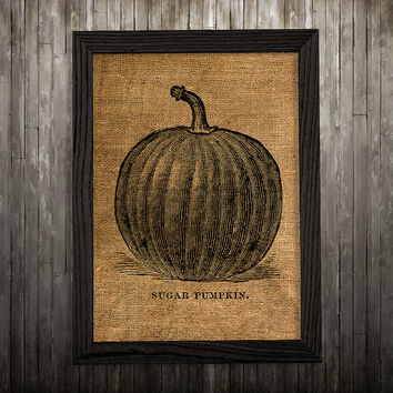 Pumpkin decor Vegetable print Burlap poster Kitchen print BLP858