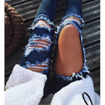 Fashion Women Hole Denim Jeans Pants