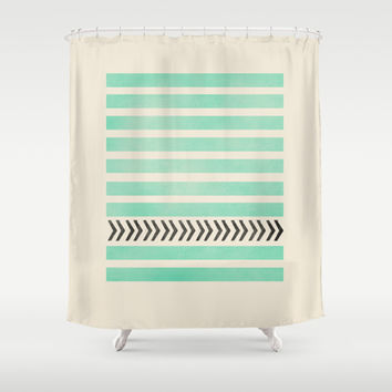 MINT STRIPES AND ARROWS Shower Curtain by Allyson Johnson