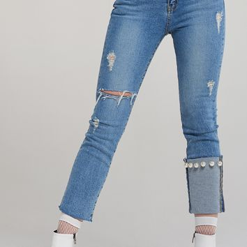 Eva Single Pearl Lightbllue Jeans Discover the latest fashion trends online at storets.com