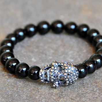 Crystal Skull with 8mm Jasper Beads - Custom Fit Bracelet