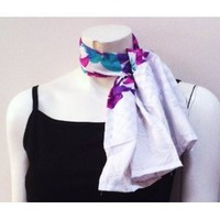 100% Cotton, High Quality Colorful Floral Unique Designer Print Small Scarf Neck Wear Wrap, Beautiful Accessory, Great Gift for Girls Women Ladies