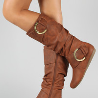 Bank-85 Buckle Slouchy Knee High Boot