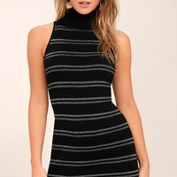 Feel the Luxe Black Striped Sleeveless Sweater Dress