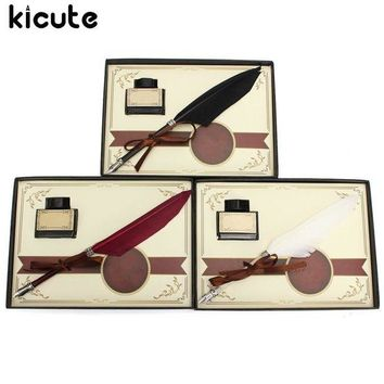LMFN3C Kicute Retro Swan Feather Quill Metal Nib Dip Pen Writing Ink Set with Gift Box Stationery Antique Fountain Pen Wedding Gifts