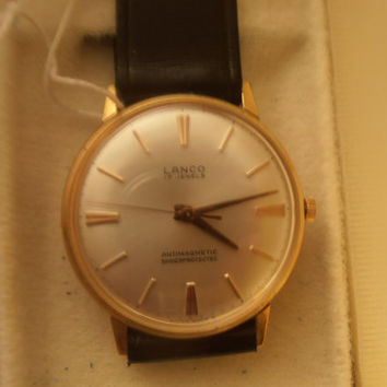 Vintage rare Lanco Swiss watch 17j NIB with tags men's wristwatch - Christmas gift for him