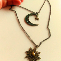 Sun & Moon Necklace, Moon and Sun Necklace, Crescent Moon Necklace, Celestial Necklace, Double Necklace, Bronze Galaxy Charm Necklace