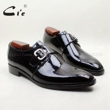 cie Square Toe Cut-outs Black Patent 100%Genuine Calf Leather Bottom Breathable Single Monk Straps Handmade Blake Men Shoe MS151